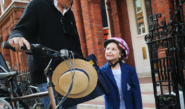Young school girl wearing a helmet