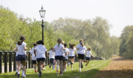 School girls jogging