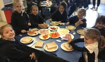 Reception Making Sandwich Lunches